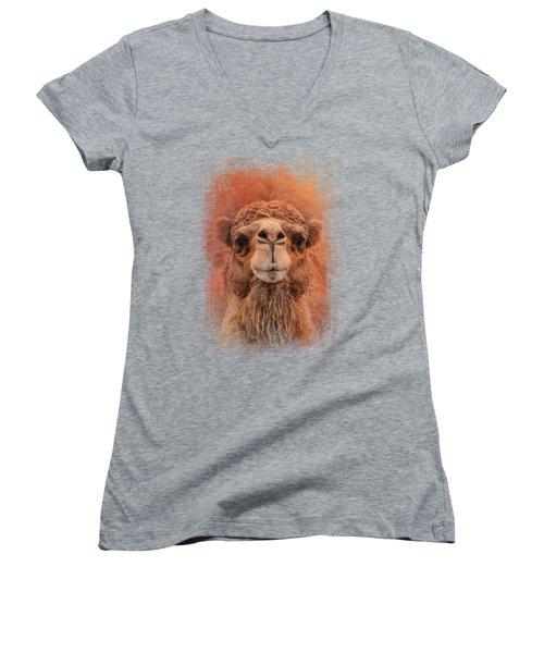 Dromedary Camel Women's V-Neck T-Shirt (Junior Cut) by Jai Johnson