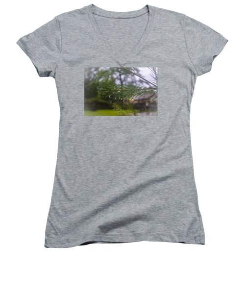Women's V-Neck T-Shirt (Junior Cut) featuring the photograph Droplets On Pine Branch by Deborah Smolinske
