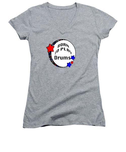 Drum Born To Play Drum 5672.02 Women's V-Neck (Athletic Fit)