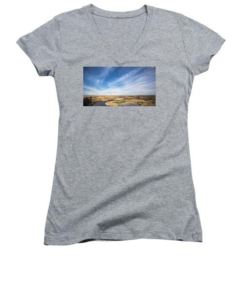 Dry Fall, Washington Women's V-Neck T-Shirt (Junior Cut) by Jingjits Photography
