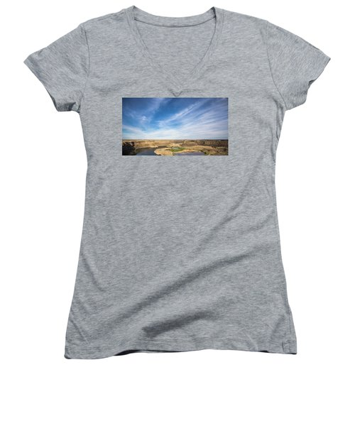 Dry Fall, Washington Women's V-Neck T-Shirt