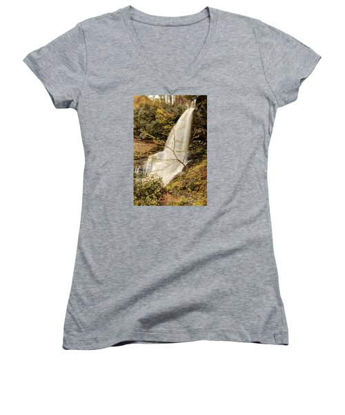Dry Falls In North Carolina Women's V-Neck T-Shirt (Junior Cut) by Penny Lisowski