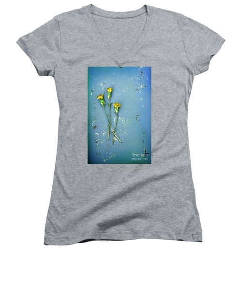 Dry Flowers On Blue Women's V-Neck T-Shirt (Junior Cut) by Jill Battaglia