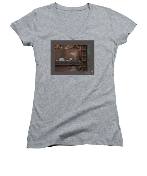 Women's V-Neck T-Shirt (Junior Cut) featuring the photograph Dry Leaves And Old Steel-iv by Patricia Overmoyer