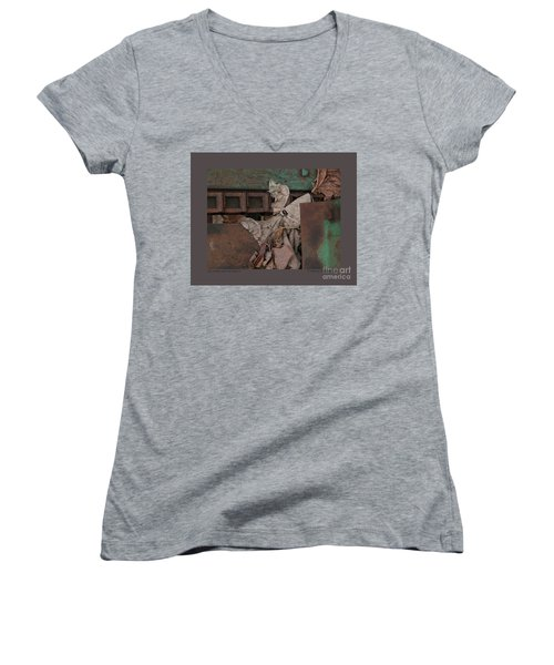 Women's V-Neck T-Shirt (Junior Cut) featuring the photograph Dry Leaves And Old Steel-v by Patricia Overmoyer