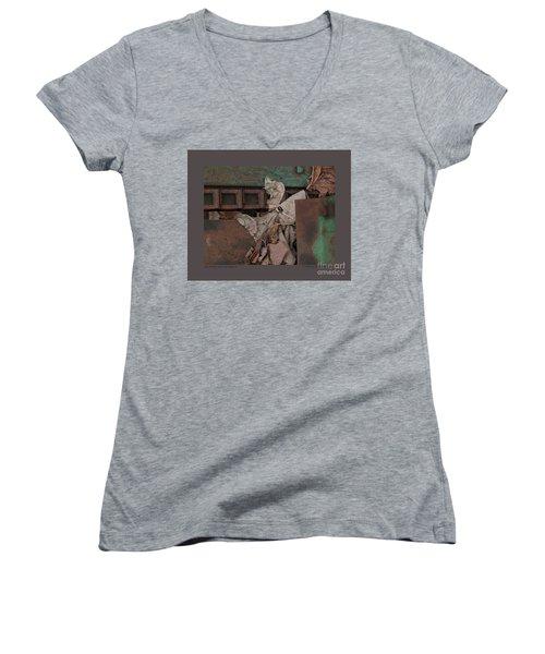 Dry Leaves And Old Steel-v Women's V-Neck T-Shirt
