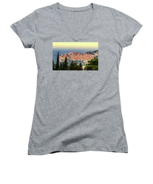 Dubrovnik Old City On The Adriatic Sea, South Dalmatia Region, C Women's V-Neck T-Shirt