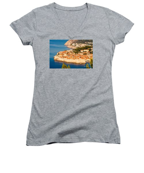 Dubrovnik Old City Women's V-Neck (Athletic Fit)