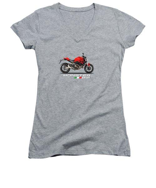 Ducati Monster 821 Women's V-Neck T-Shirt (Junior Cut)