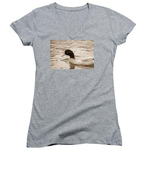Duck In Pond Women's V-Neck