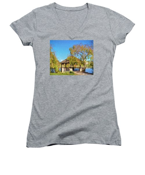 Duck Pond Gazebo At Virginia Tech Women's V-Neck (Athletic Fit)