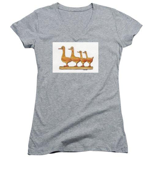 Ducks In A Row Women's V-Neck T-Shirt (Junior Cut)