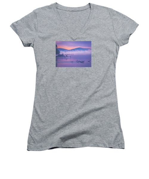 Ducks Under Fog Women's V-Neck