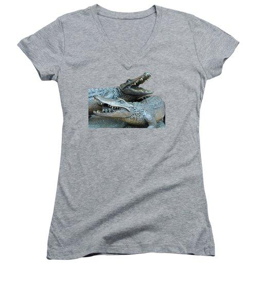 Dueling Gators Transparent For Customization Women's V-Neck T-Shirt (Junior Cut) by D Hackett