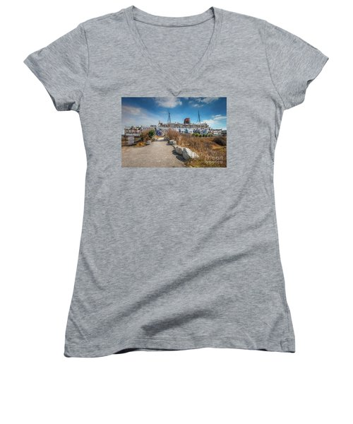 Women's V-Neck T-Shirt (Junior Cut) featuring the photograph Duke Of Lancaster Graffiti by Adrian Evans