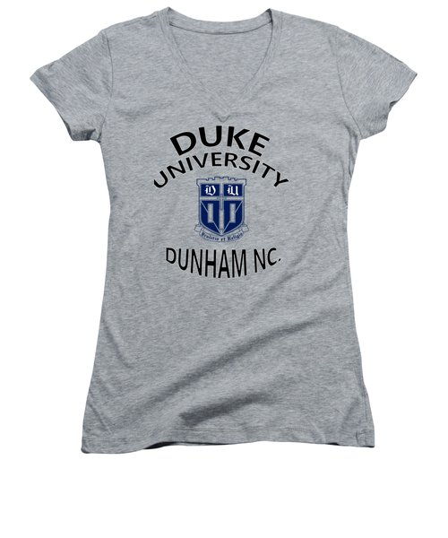 Duke University Dunham N C  Women's V-Neck T-Shirt (Junior Cut) by Movie Poster Prints