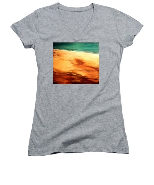 Women's V-Neck T-Shirt (Junior Cut) featuring the painting Dune Shadows by Winsome Gunning