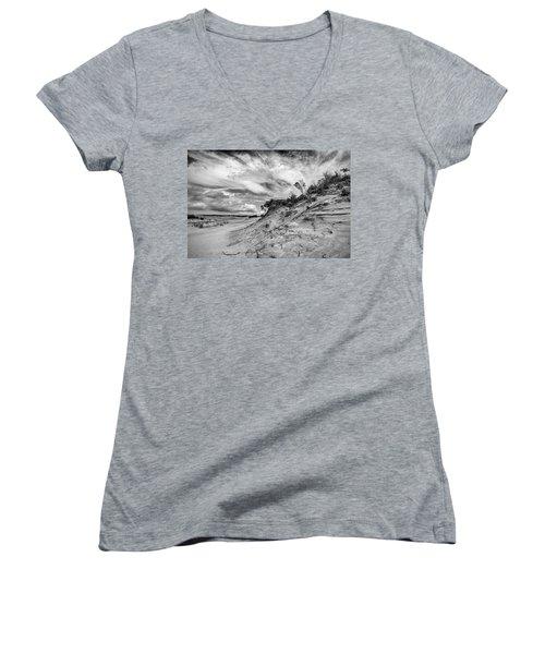 Women's V-Neck T-Shirt featuring the photograph Dune Sky by Alan Raasch