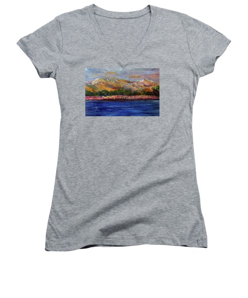Women's V-Neck T-Shirt (Junior Cut) featuring the painting Dunes At Pilgrim Lake by Michael Helfen