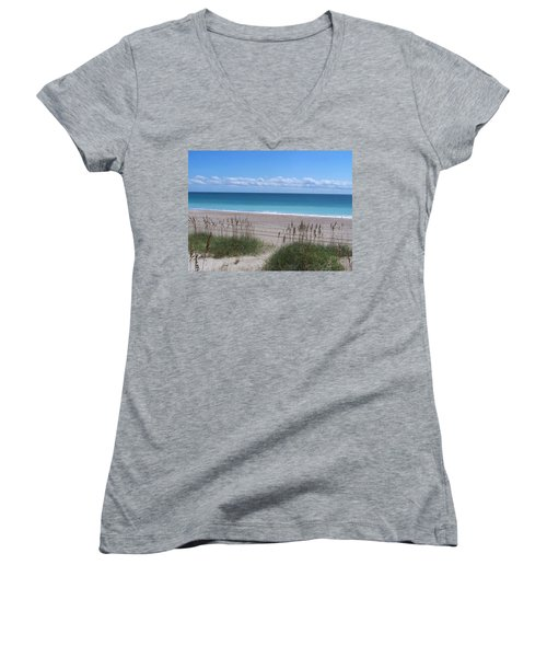 Women's V-Neck T-Shirt (Junior Cut) featuring the photograph Dunes On The Outerbanks by Sandi OReilly