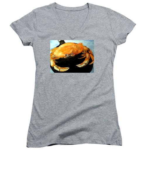 Women's V-Neck T-Shirt (Junior Cut) featuring the painting Dungeness For Dinner by Carol Grimes