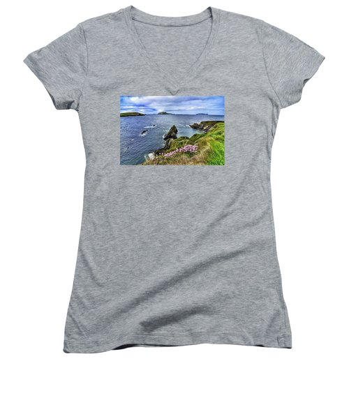 Dunquin Flowers  Women's V-Neck T-Shirt