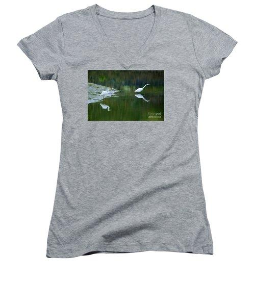 duo Women's V-Neck T-Shirt (Junior Cut) by Sheila Ping