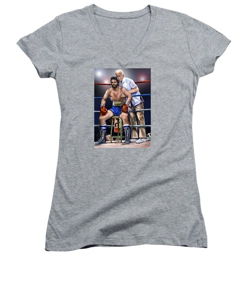 Duran Hands Of Stone 1a Women's V-Neck (Athletic Fit)