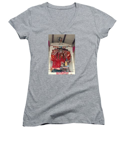 Durga On The Yamuna, Vrindavan Women's V-Neck T-Shirt