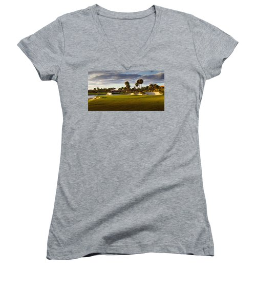 Dusk At P G A National Women's V-Neck T-Shirt
