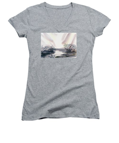 Women's V-Neck featuring the painting Dusk Creeping Up The River by Dorothy Darden