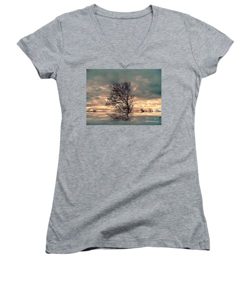 Women's V-Neck T-Shirt (Junior Cut) featuring the photograph Dusk by Elfriede Fulda
