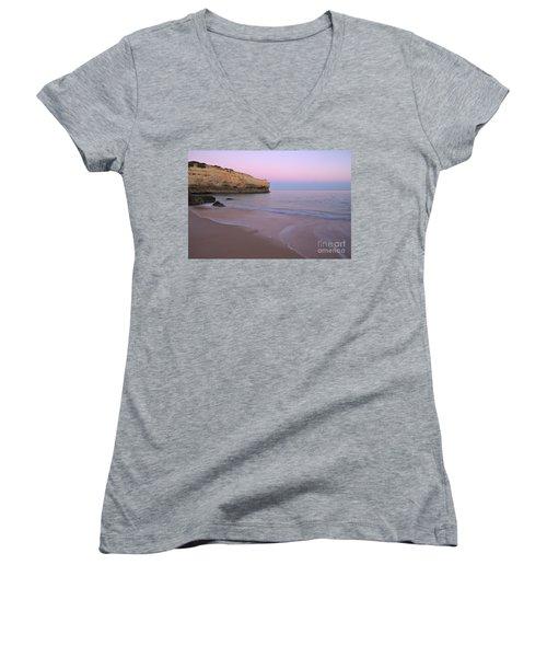 Dusk In Albandeira Beach Women's V-Neck T-Shirt (Junior Cut) by Angelo DeVal