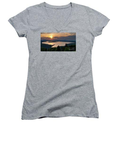 Women's V-Neck T-Shirt (Junior Cut) featuring the photograph Dusk, Mooselookmeguntic Lake, Rangeley, Maine -63362-63364 by John Bald