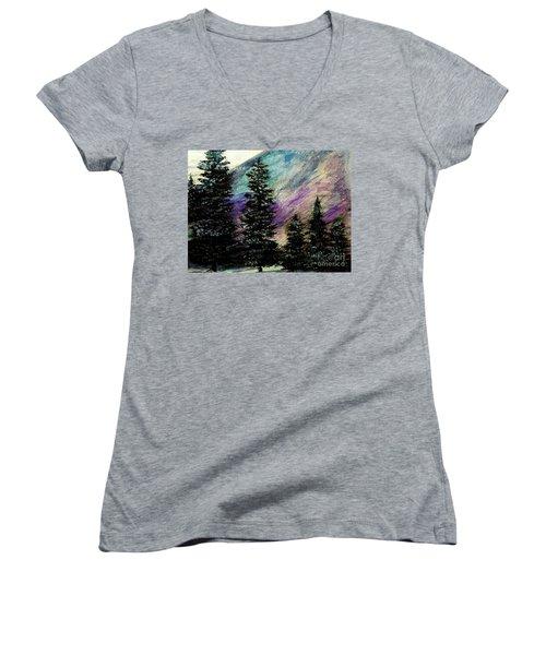 Dusk On Purple Mountain Women's V-Neck T-Shirt (Junior Cut) by Scott D Van Osdol