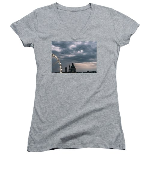 Women's V-Neck T-Shirt featuring the photograph Dusk Over Budapest by Alex Lapidus