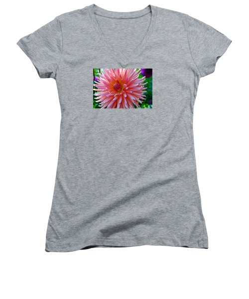 Dusty Rose Dahlia  Women's V-Neck T-Shirt