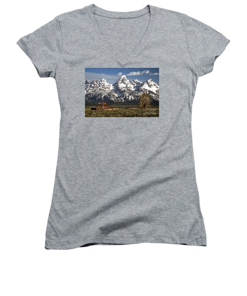 Dwarfed By The Teton Mountain Ange Women's V-Neck T-Shirt (Junior Cut) by Adam Jewell