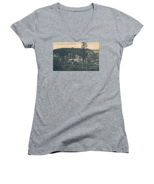 Dyckman Street At Turn Of The Century Women's V-Neck T-Shirt (Junior Cut) by Cole Thompson