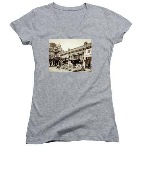 Women's V-Neck T-Shirt featuring the photograph Dyckman Theater, 1926 by Cole Thompson
