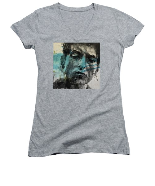 Dylan - Retro  Maggies Farm No More Women's V-Neck T-Shirt (Junior Cut) by Paul Lovering