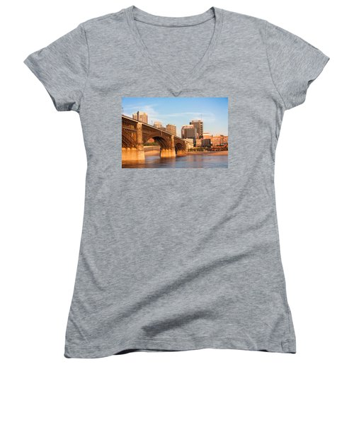 Eads Bridge At St Louis Women's V-Neck T-Shirt (Junior Cut) by Semmick Photo