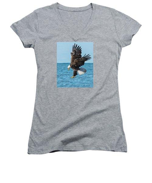 Eagle Dive Women's V-Neck T-Shirt (Junior Cut) by CR  Courson