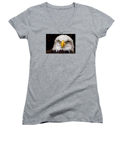 Defiant And Resolute - Bald Eagle Women's V-Neck T-Shirt (Junior Cut) by Rikk Flohr