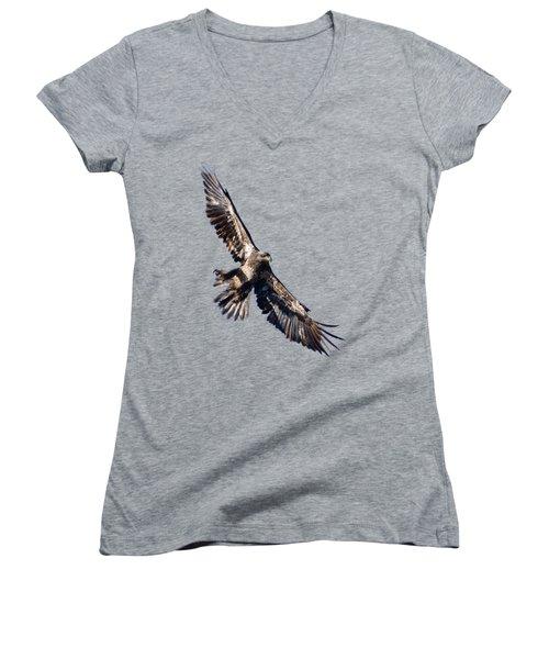 Eagle Women's V-Neck T-Shirt (Junior Cut) by Greg Norrell