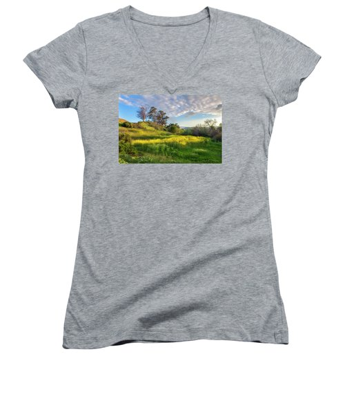 Women's V-Neck T-Shirt (Junior Cut) featuring the photograph Eagle Grove At Lake Casitas In Ventura County, California by John A Rodriguez