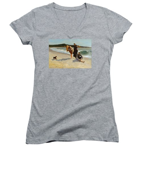 Women's V-Neck T-Shirt (Junior Cut) featuring the painting Eagle Head, Manchester, Massachusetts - 1870 by Winslow Homer