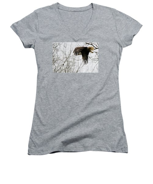 Eagle In Flight Women's V-Neck T-Shirt (Junior Cut) by Michael Peychich