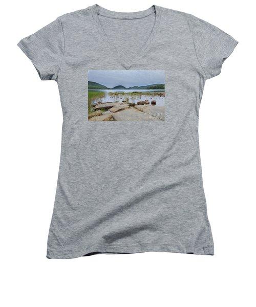 Eagle Lake Acadia National Park Women's V-Neck (Athletic Fit)