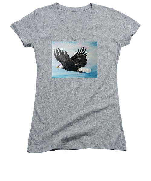 Eagle On A Mission      11 Women's V-Neck T-Shirt